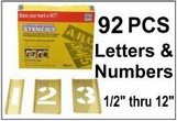 Brass 92 Piece Letters & Numbers Set