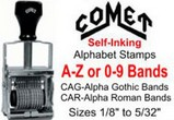 Comet Self-Inking Alphabet-Numbering Stamps