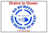 No Dumping This Drains to Ocean Stencil Sets, Qty. 1, 10 and 50 Pack