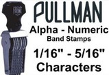 Alpha-Numerical Band Stamps, Choose from 1/16