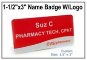 "Custom Engraved Name Badge w/Logo, Engraved Name Badge, 1.5"" x 3"""