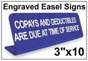 "3"" x 10"" Engraved Easel Tabletop Sign"