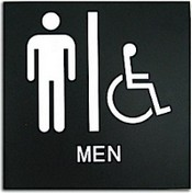 "Presto Black 8"" x 8"" Mens Handicap Accessible Restroom Ready Made ADA Sign"