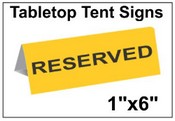 "1"" x 6"" Engraved Table Top Tent Sign