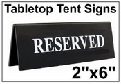 """2"""" x 6"""" Engraved Table Top Tent Sign Tent Signs Table Top Tent Sign"""