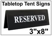 "3"" x 8"" Table Top Tent Sign